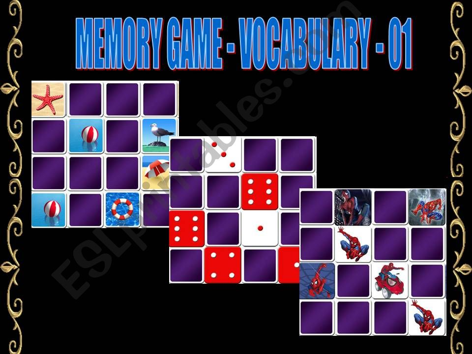 MEMORY GAME - VOCABULARY - 1 powerpoint