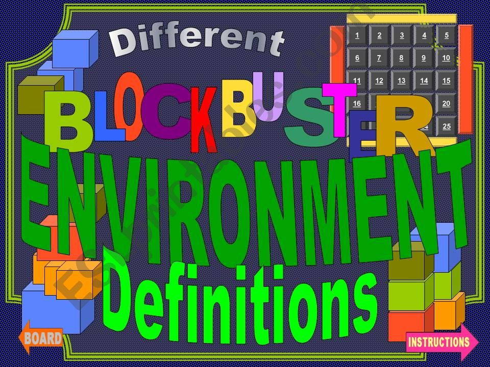 Environmental phrases-definitions game