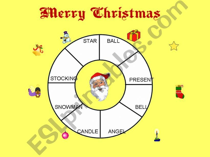 Christmas; Match words and pictures (Animation)