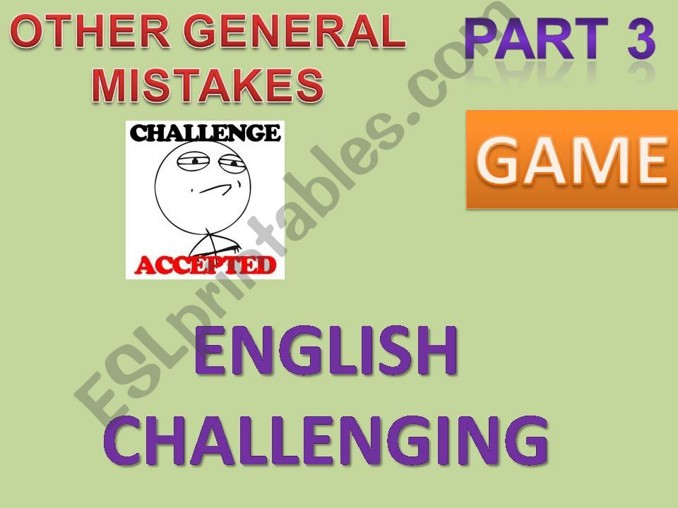 ENGLISH CHALLENGING - CORRECTING ERRORS IN 20 SENTENCES - GAME WITH INSTRUCTIONS + ANSWER KEYS PART 3