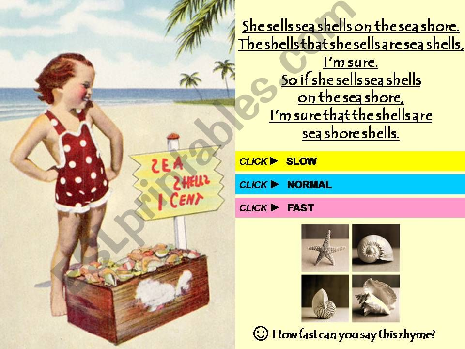 She Sells Sea Shells - TONGUE-TWISTER with SOUND