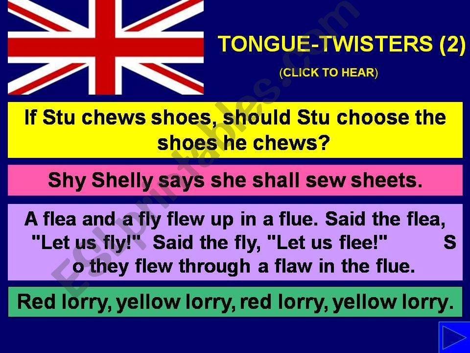 TONGUE-TWISTERS with SOUND - Part 2