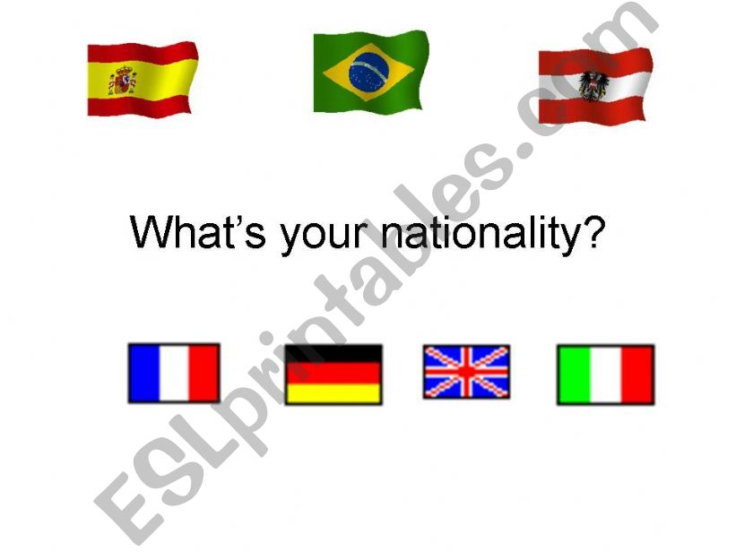 What´s your nationality? powerpoint