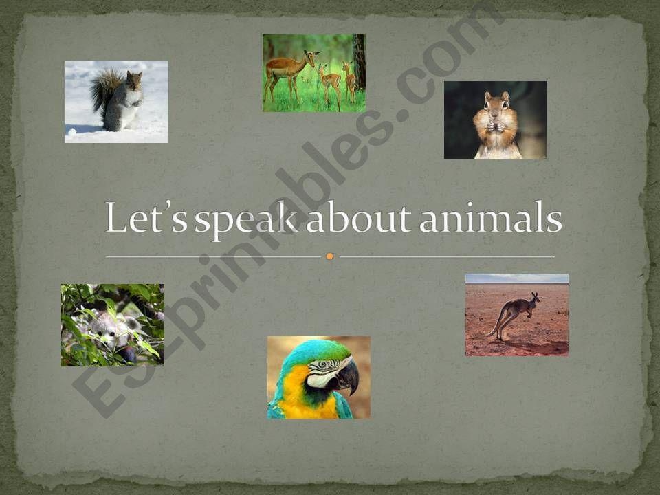 Speak about animals powerpoint