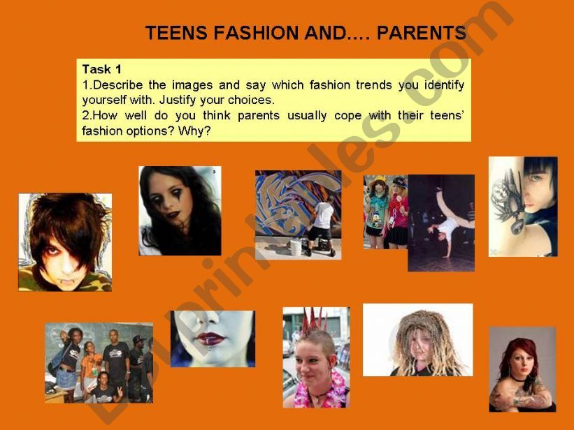 Teens, fashion and parents powerpoint