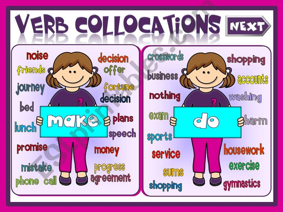 Verb collocations - MAKE or DO (2)