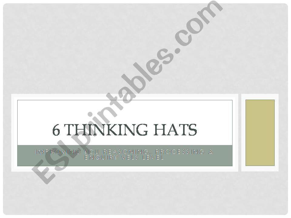 Six Thinking hats by De Bono powerpoint