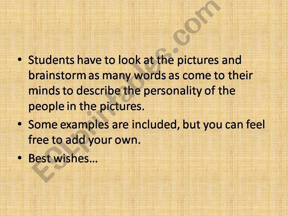 Personality description powerpoint