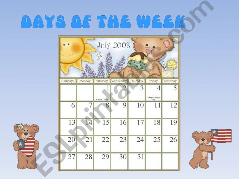 Days of the week powerpoint
