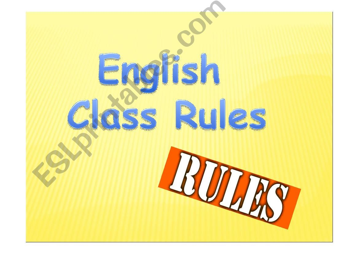 English Class Rules powerpoint