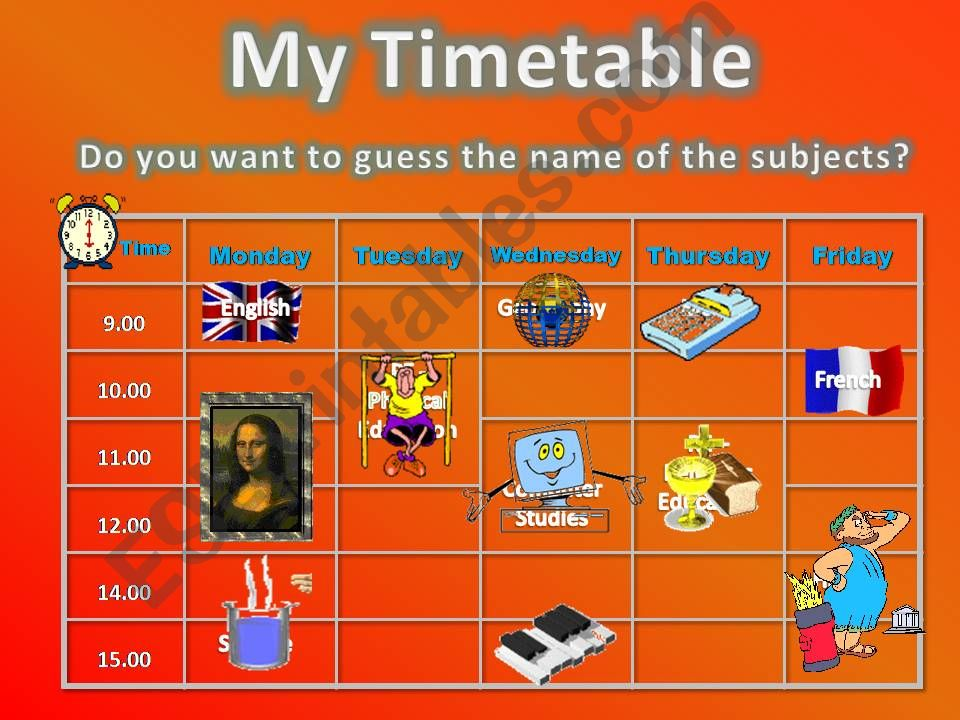 Timetable powerpoint