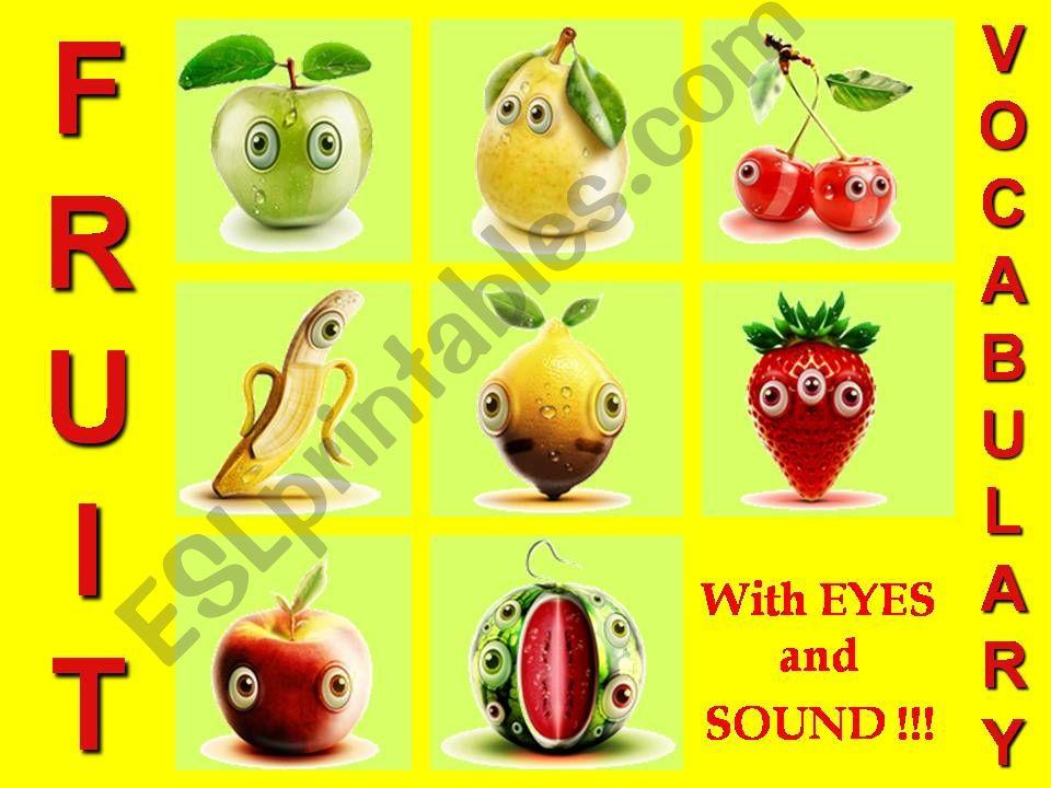 FRUIT VOCABULARY - with SOUND, ANIMATED