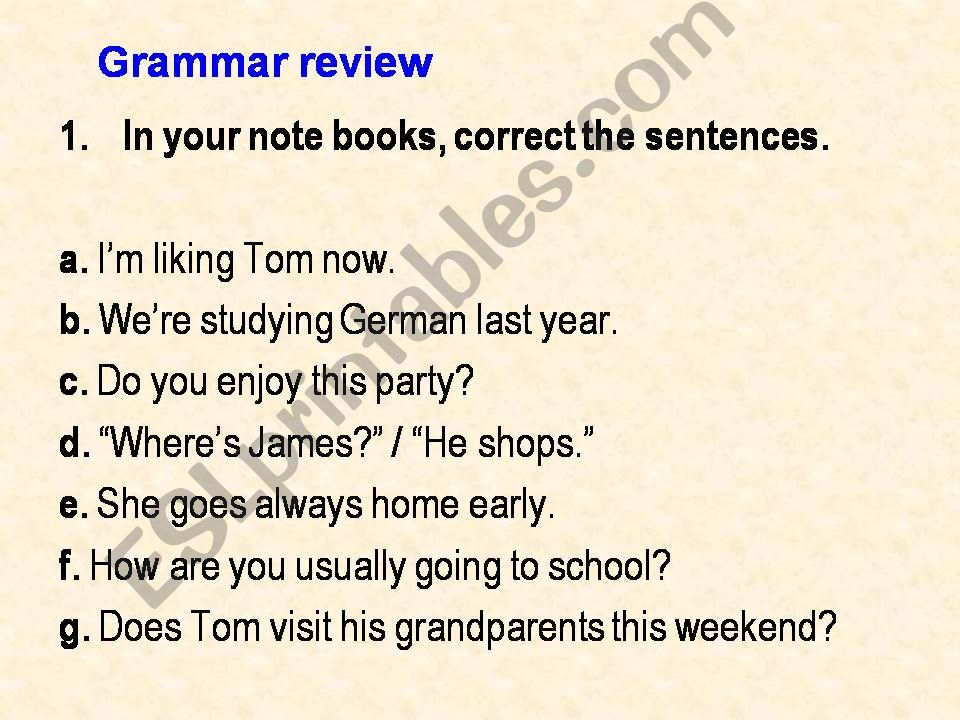 Grammar Review powerpoint