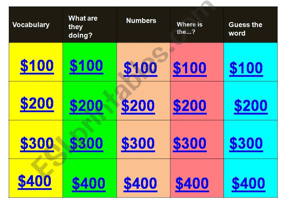 Jeopardy Game for Elementary level Kids