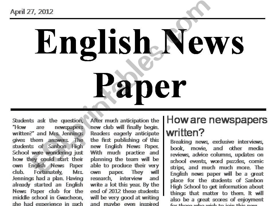 English Newspaper powerpoint