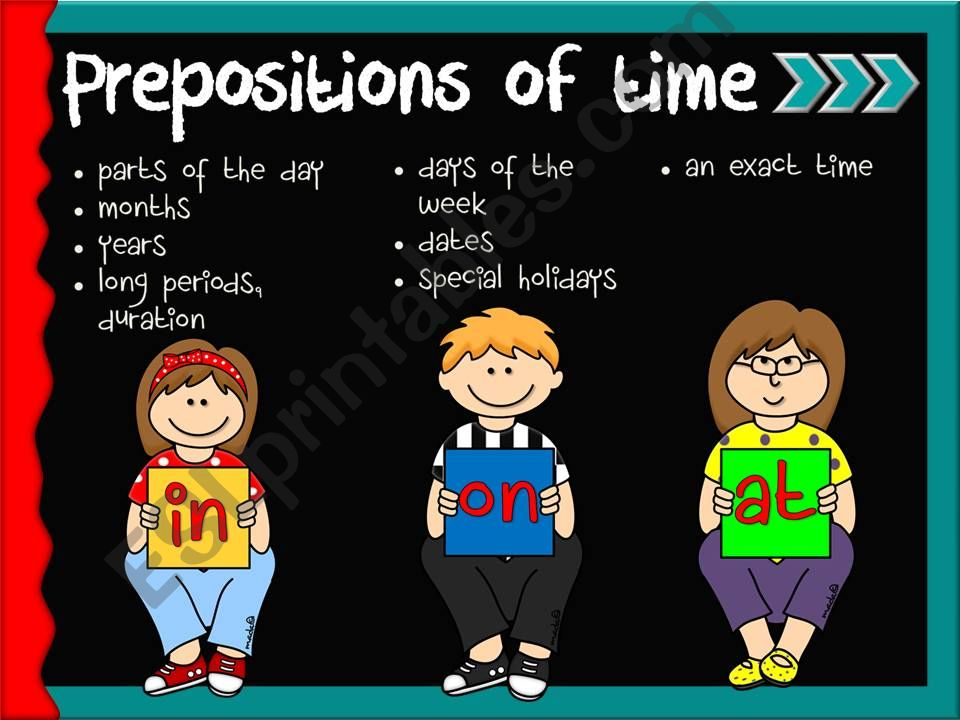 Prepositions of time - in, on ,at *GAME*