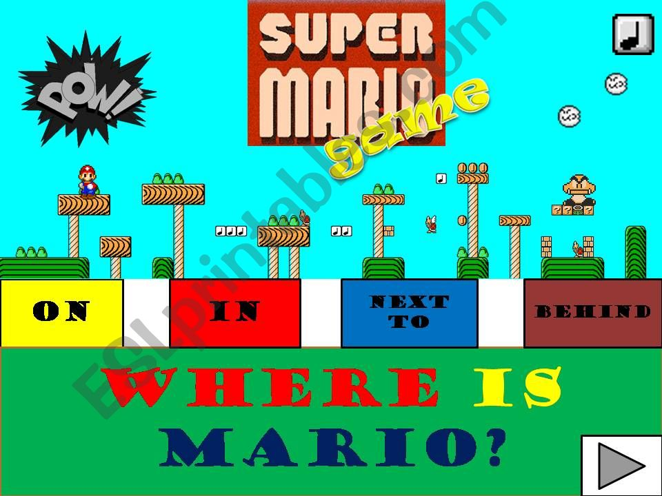 PREPOSITIONS OF PLACE WITH SUPERMARIO (WITH SOUND)