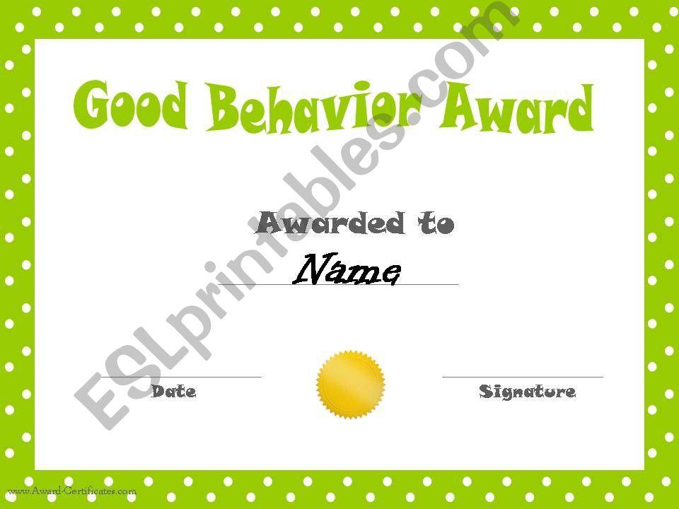 Behavior certififcates powerpoint