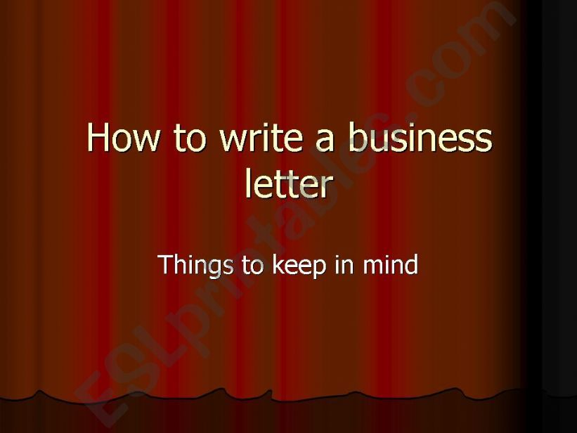 ESL English PowerPoints How To Write A Business Letter