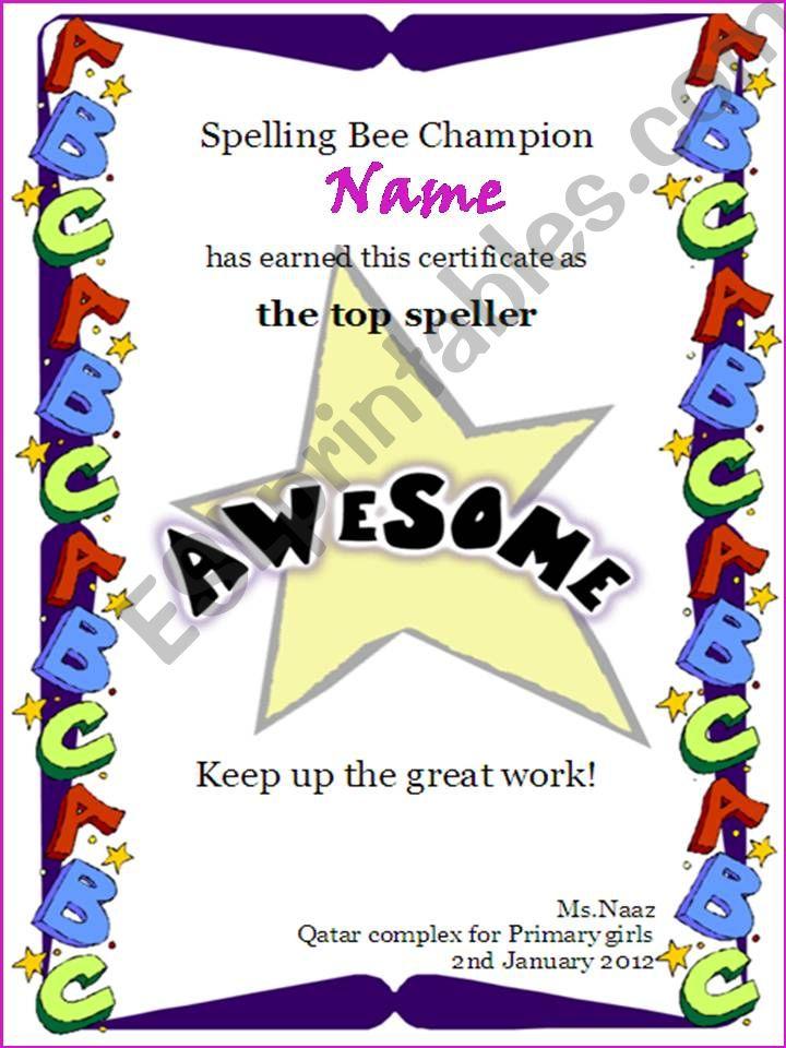 Spelling bee certificate powerpoint