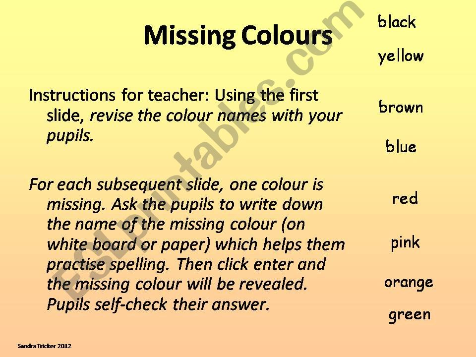 Missing Colours powerpoint