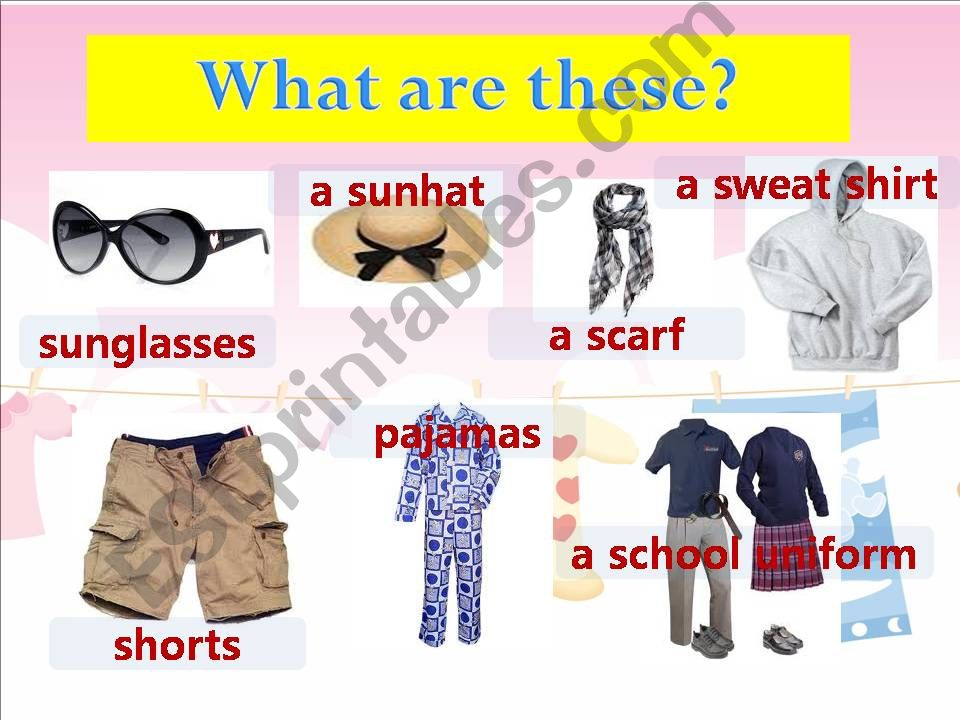 clothing items powerpoint