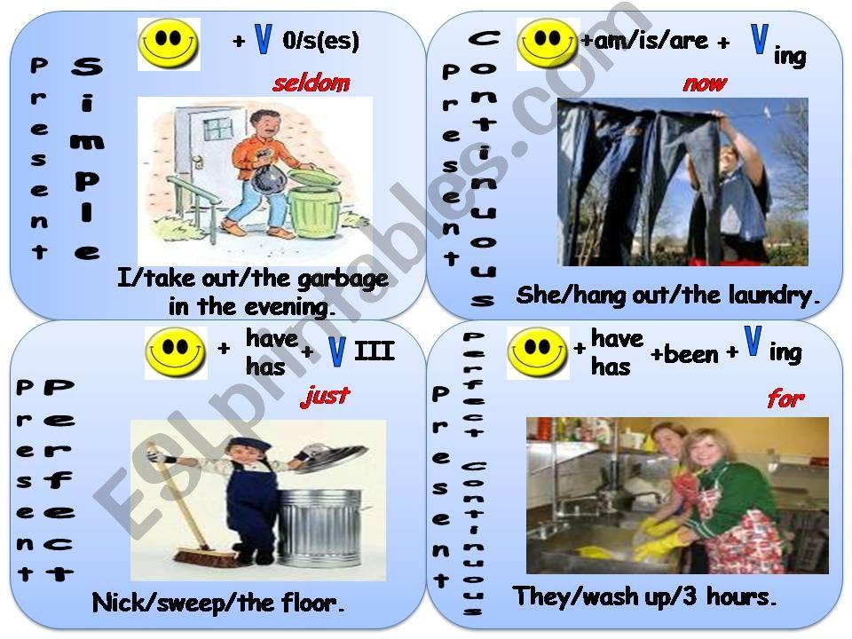 Present Tenses Mix (speaking cards)
