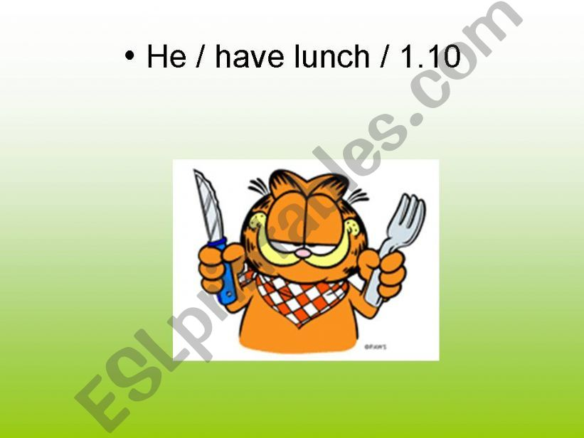 Garfield´s daily routine 2 powerpoint