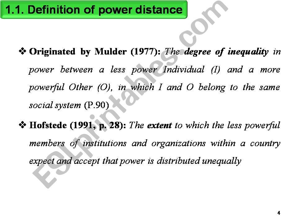 power distance definition