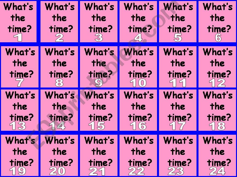 ESL - English PowerPoints: What´s the time matching/pairs game