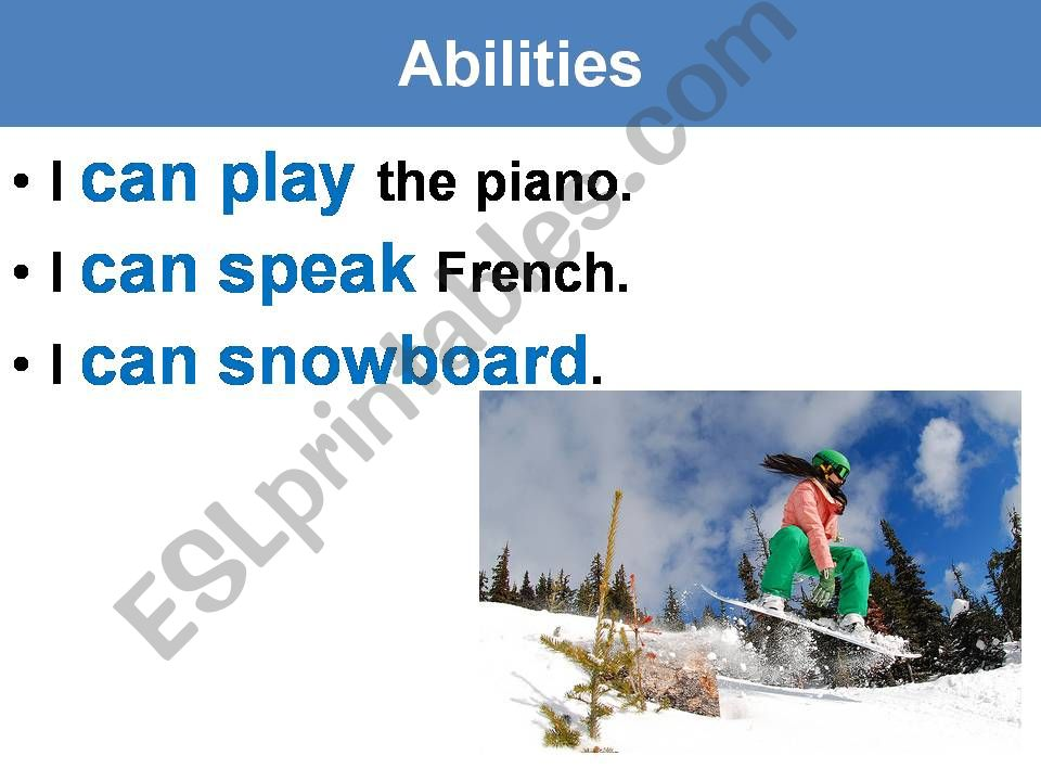 Can Can´t for abilities powerpoint