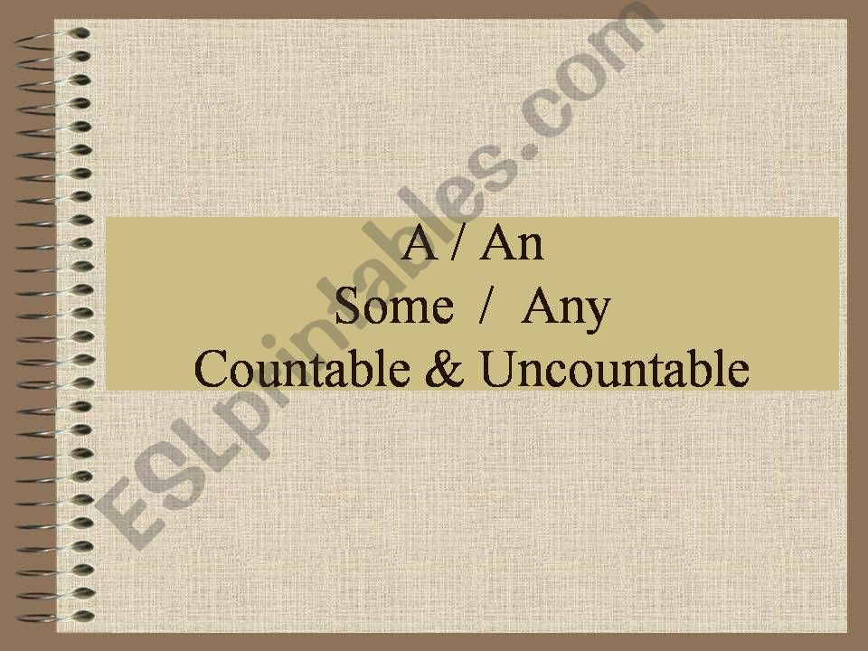 A, An, Some, Any with countable and uncountable