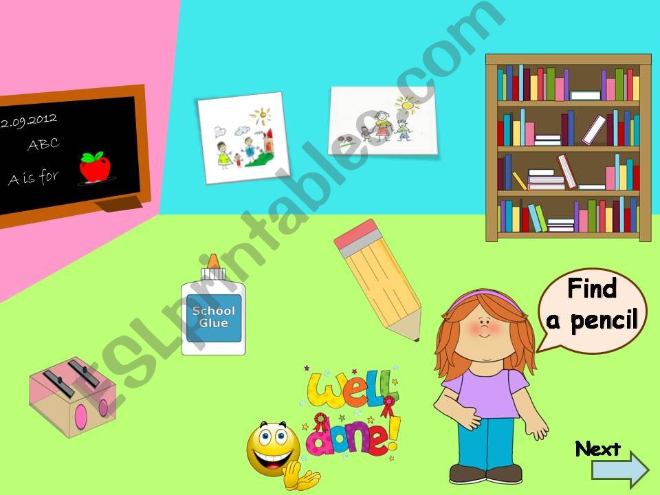 ESL - English PowerPoints: Classroom objects {animated with sound