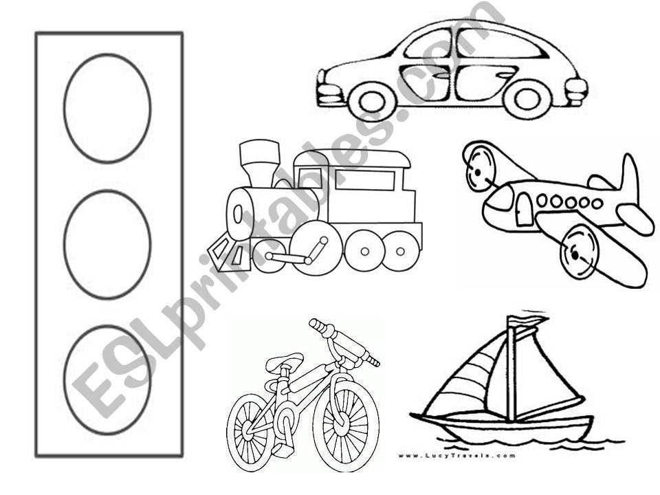 means of transport colouring powerpoint