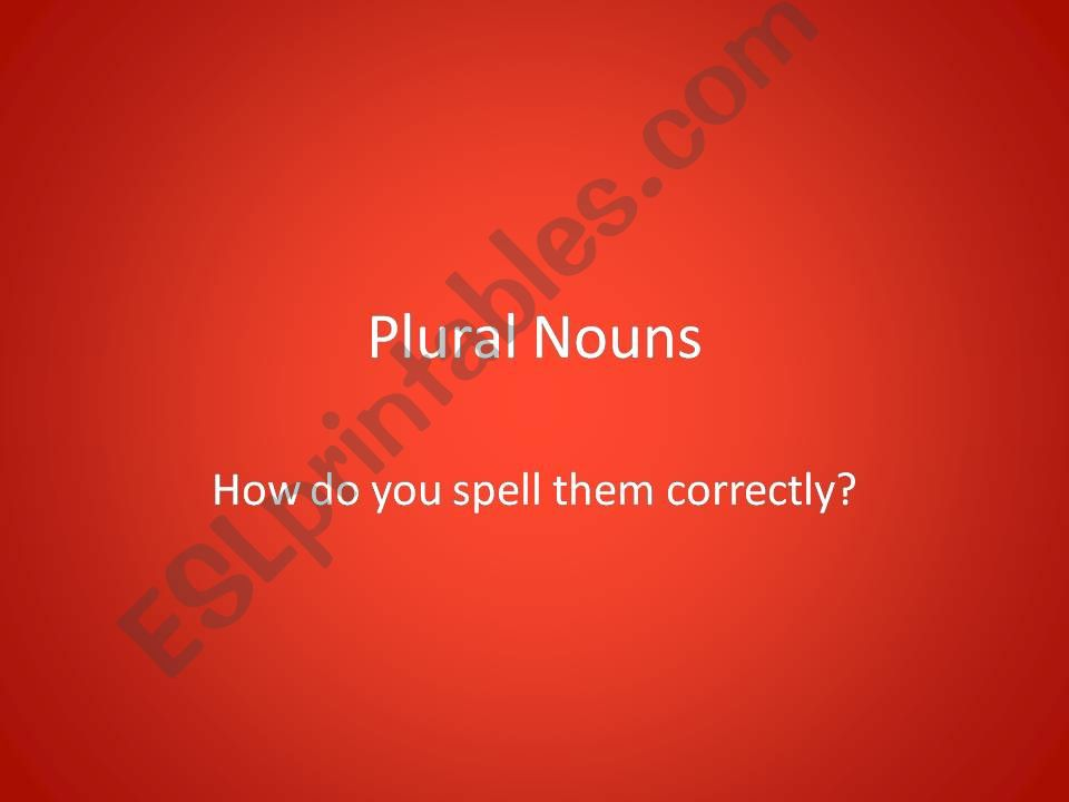 How to make nouns plural powerpoint