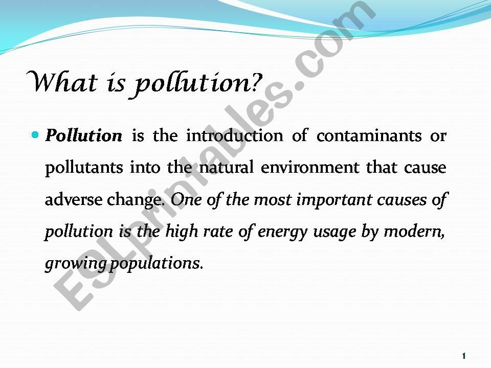 Pollution the growing danger powerpoint