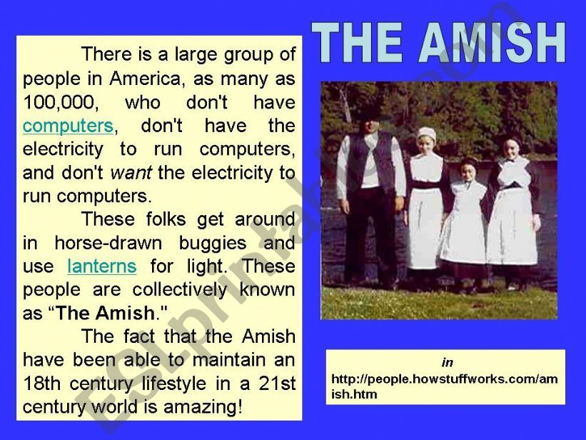 The Amish -. part 1 powerpoint