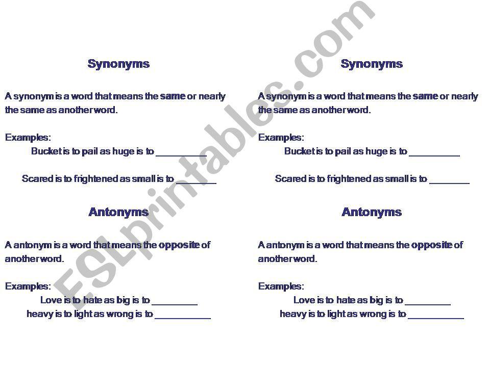 ESL - English PowerPoints: Notes on Synonyms, Antonyms, Homonyms