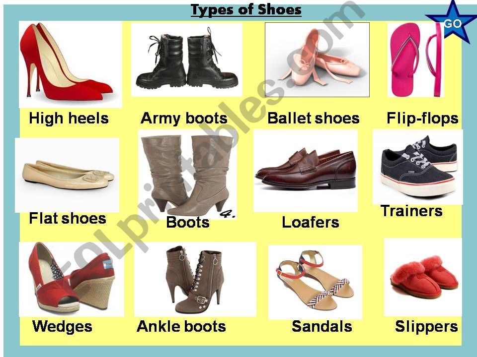 Types of shoes + a game inside