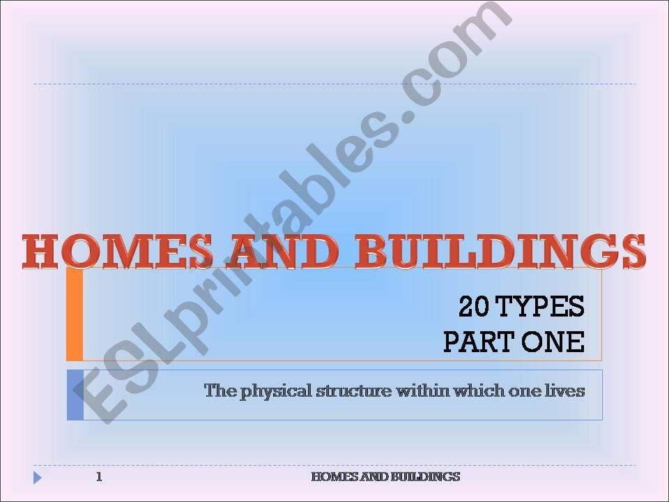 20 TYPES OF HOMES AND BUILDINGS - PART ONE