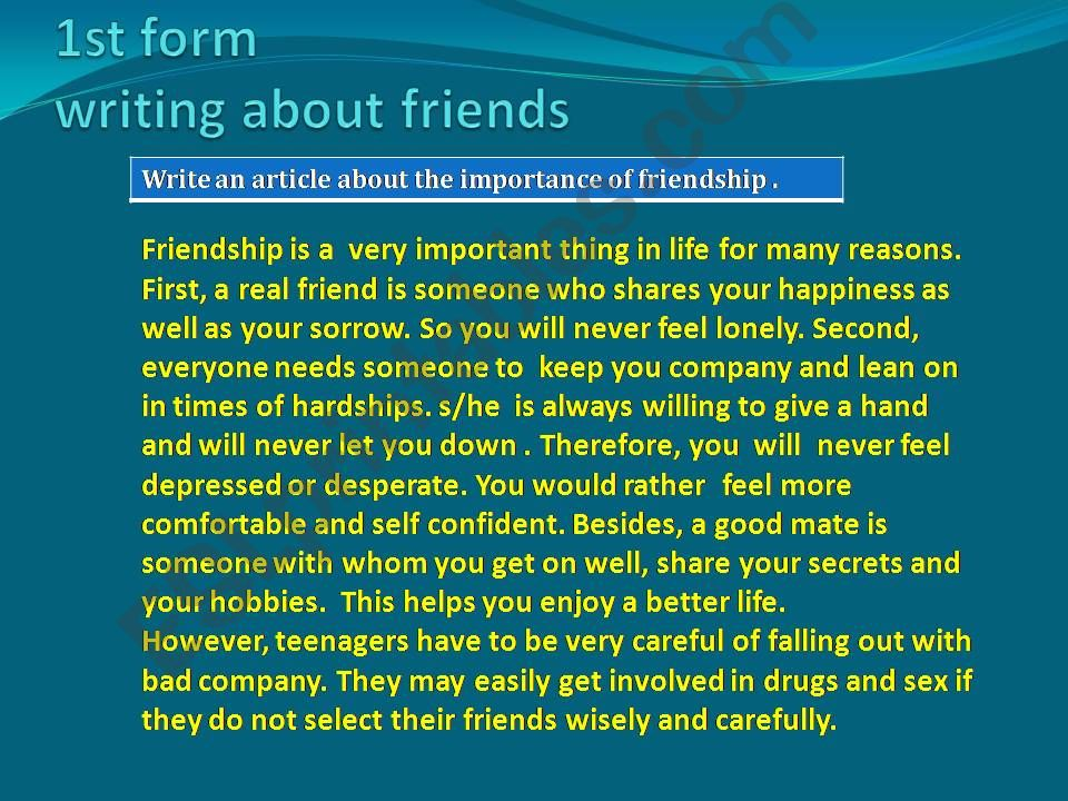 Writing exercises about friends and friendship
