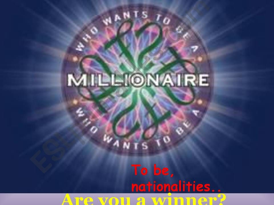 How to be a millionaire to be nationalities numbers