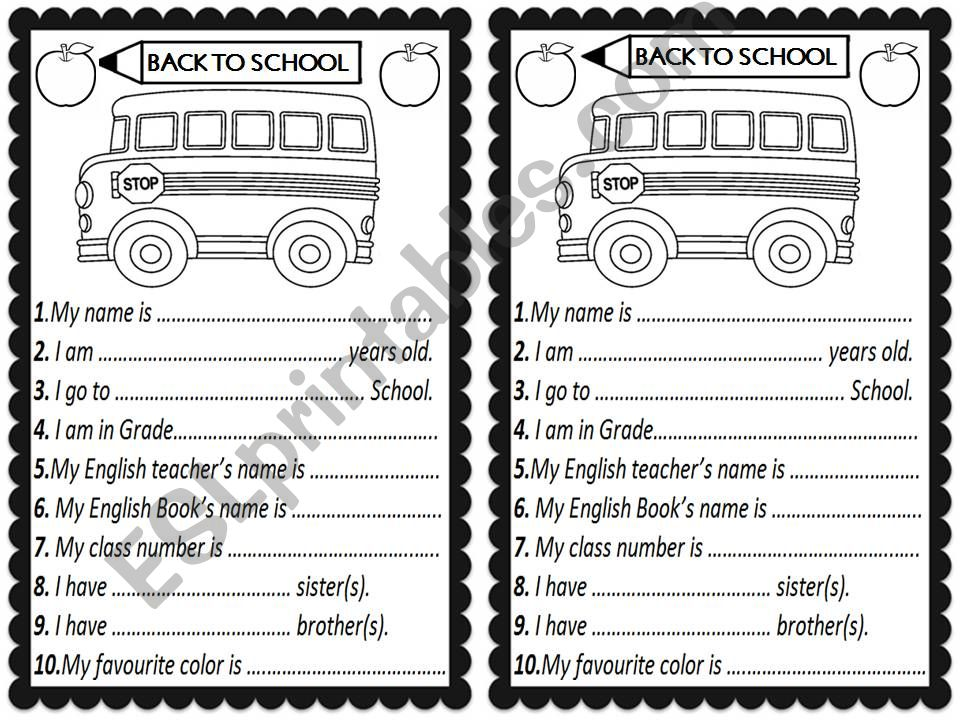 BACK TO SCHOOL ABOUT Me activity