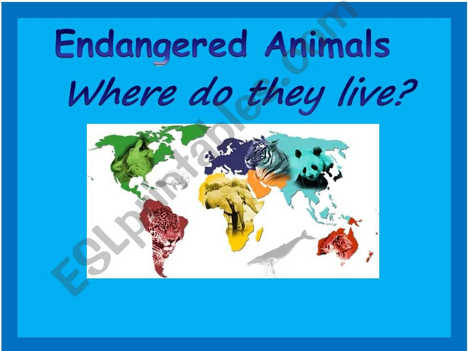 Endangered Animals Map Game 1 powerpoint