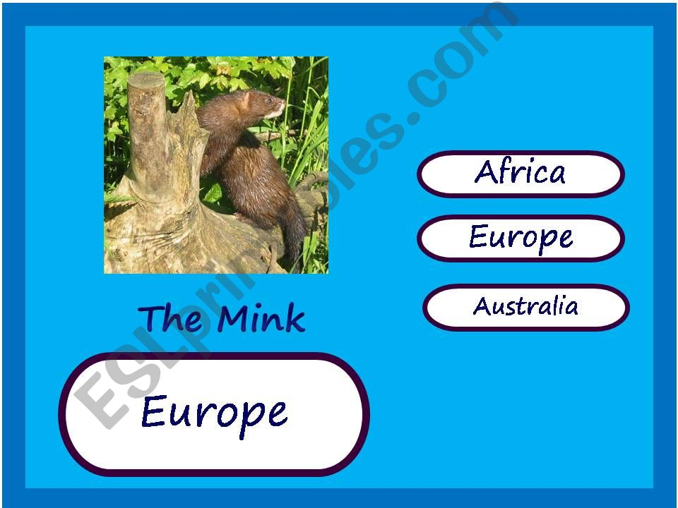 Endangered Animals Map Game 3 powerpoint