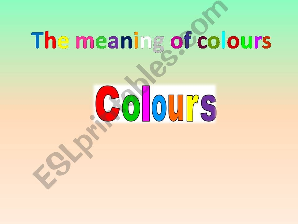 Colours and Personality powerpoint