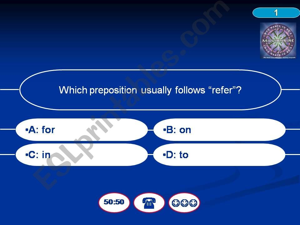 Prepositions revision - Who Wants To Be A Millionaire?
