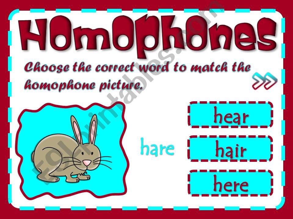 Homophones - game (2/2) powerpoint