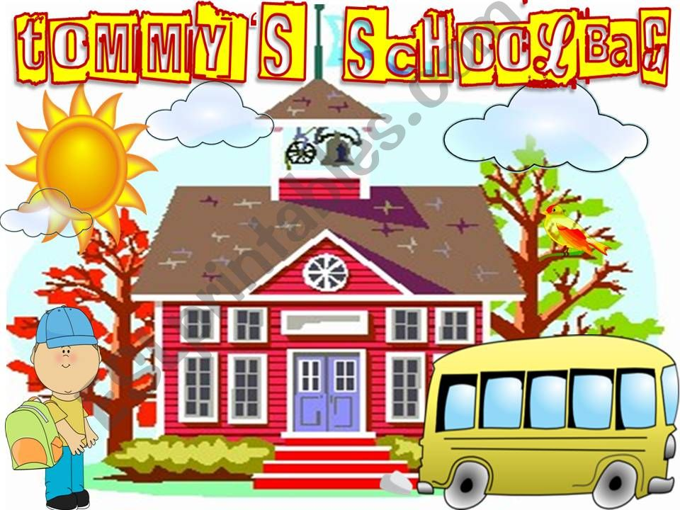 Tommy´s Schoolbag (school supplies ppt game with sound)