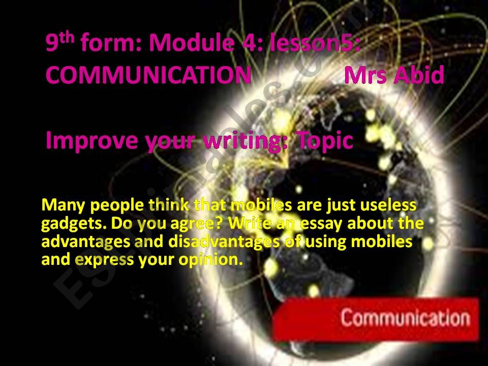 Essay form on mobile phones  powerpoint